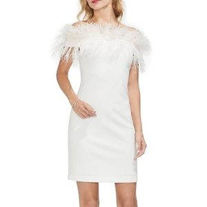 Vince Camuto off the shoulder feather trim dress